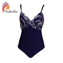 Andzhelika Women Plus Size One Piece Swimsuit Sexy Print Swimwear Summer Beachwear Vintage Fold Bathing Suits Bodysuit Monokini