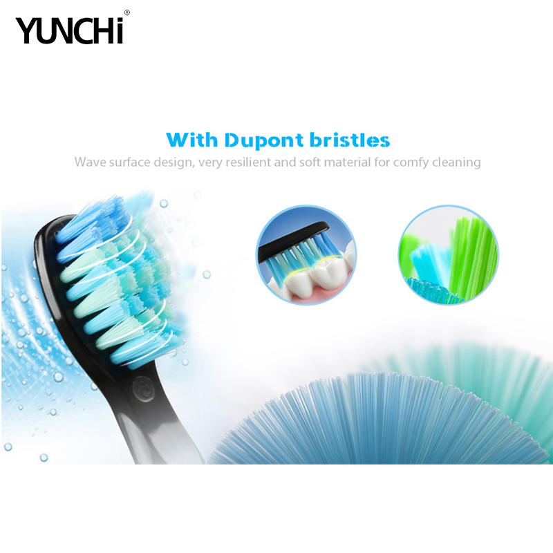 Yunchi Electric Toothbrush Ultrasonic Brush Replaceable Brush Heads USB Rechargeable Whitening Teeth Brush Heads Toothbrush Box