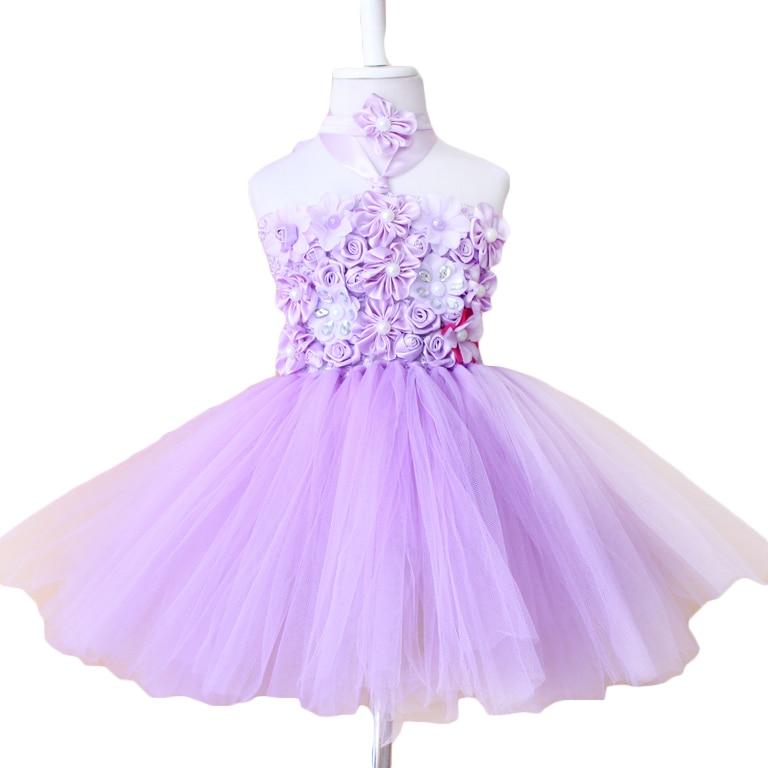 ed130ecf61 Hand made fioletowy z girlsTutu Princess tutu sukienka kwiat pałąk dla  dziecka Dzieci Sukienki Dla Dziewczynek