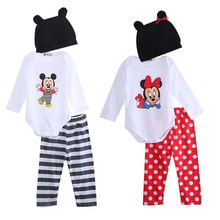 3pcs Baby Clothes 0-24M Infant Toddler Girls Boys Long Sleeve Mic key Cartoon Romper Bodysuit Pant Hat Outfit Kids Clothing Set