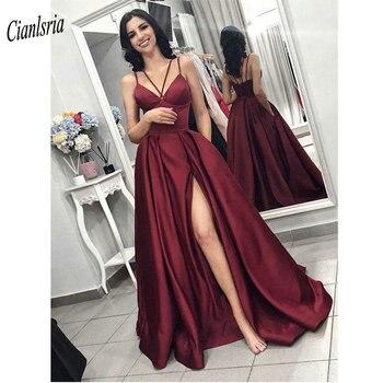 Elegant Burgundy Spaghetti Straps Evening Dress With High Split 2020  Simple Satin Formal Evening Party Dresses vestido de festa