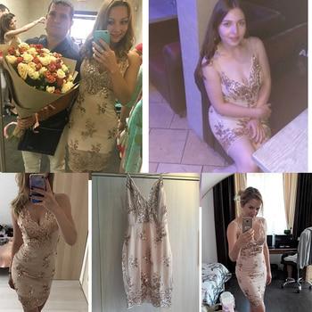 Womens Gold Black Sequins Summer Dress 2018 Sexy V neck Backless Women Sundress Luxury Party Club Wear Mini Dresses Vestidos New 5