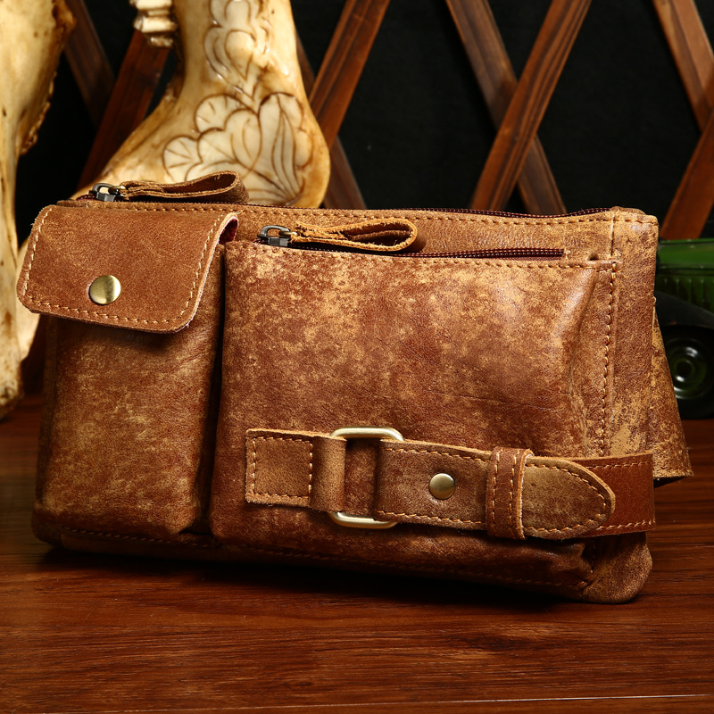 100% Genuine Leather Chest Bags Man Outdside Crossbody Shoulder Bag Cowhide Leather Fashion Men Chest Pack bolsa masculina