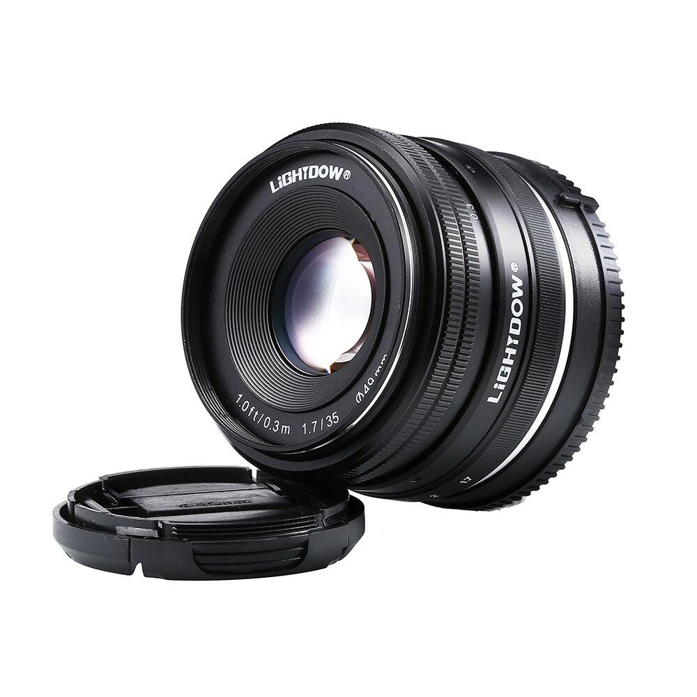 Lightdow 35mm F1.7 lente manual para Sony e montaje NEX 3 3N C3 5 5N 5R 5 t 6 7 A6500 A6300 A6000 A5100 A5000 A3000 A3500