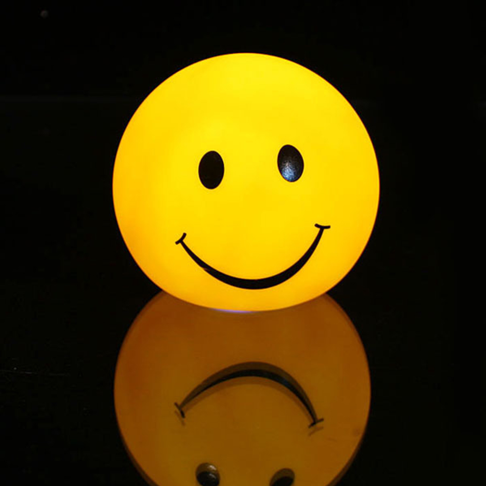 Lovely Changable Color Round Smile Face LED Night Light Lamp 7 Colors Changing Smiling Nightlight For Baby Children Gift Toy