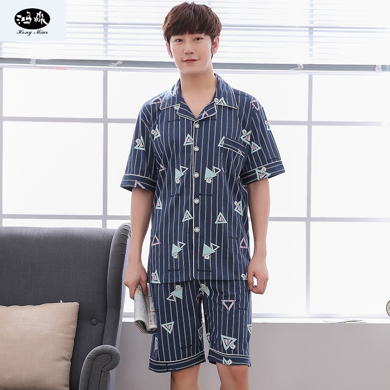 Hongmiao Men Pajamas Set Summer Male Turn-down Collar Geometric Casual Pijamas Sets 2 Pcs Homewear Comfortable Sleepwear