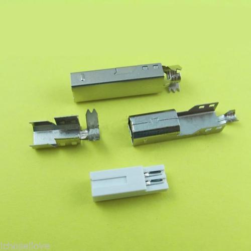 Prise mâle USB 100 Type B 2.0 pièces   4 broches, prise mâle, connecteurs de soudure pour le bricolage