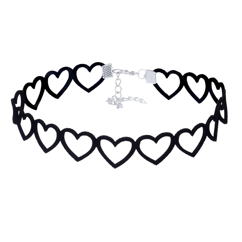 Japanese Harajuku Soft Girl Black lace choker Personality Hollow Heart Peach Heart Collar Velvet Tattoo Choker Necklace NZ3349