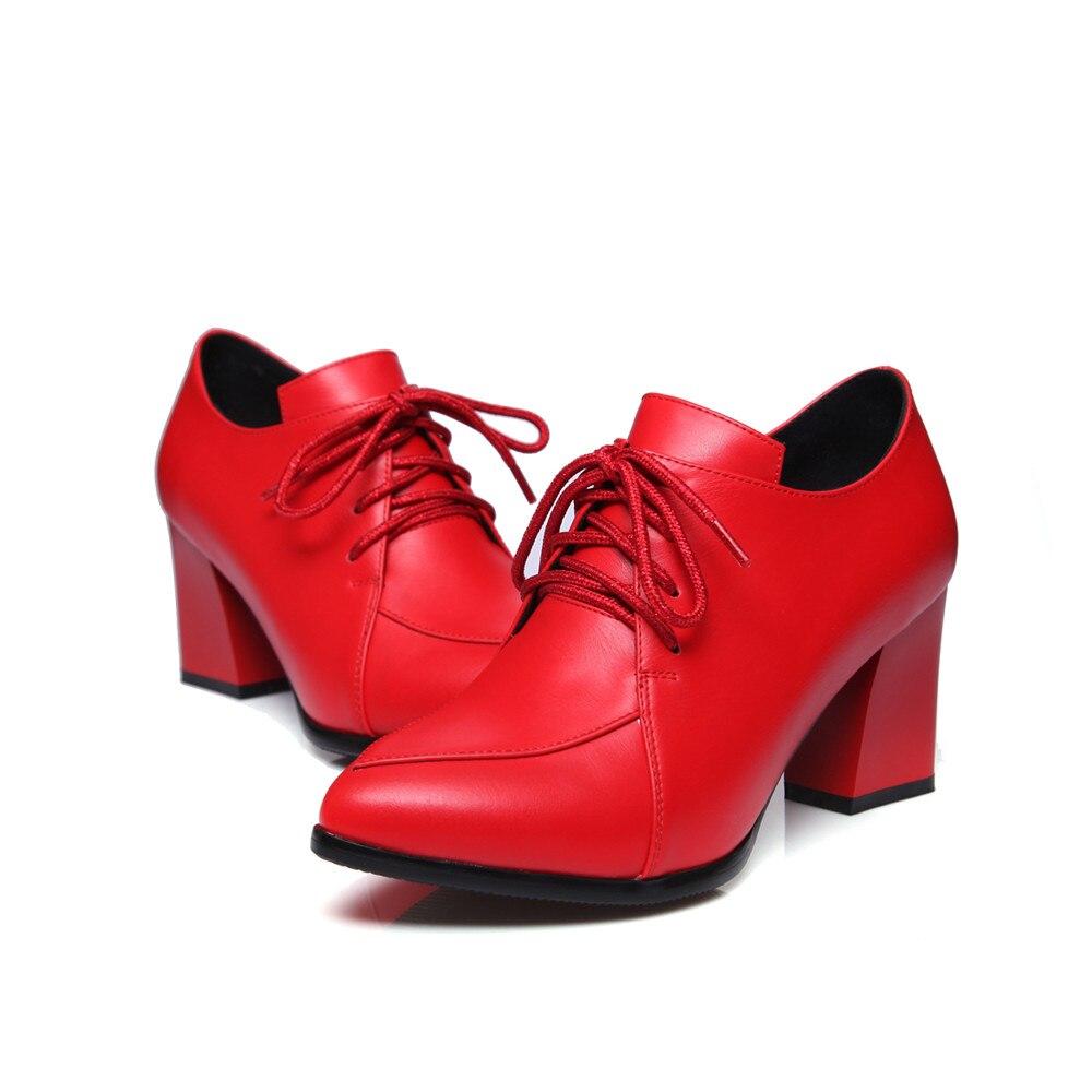 Dames Grande Automne Noir Printemps Mode Talon Hauts Lacets Pointu Colors À gun Chaussures 42 Pompes Rouge Noir 33 Épais Asumer red Taille Talons Bout Femmes qwTfI