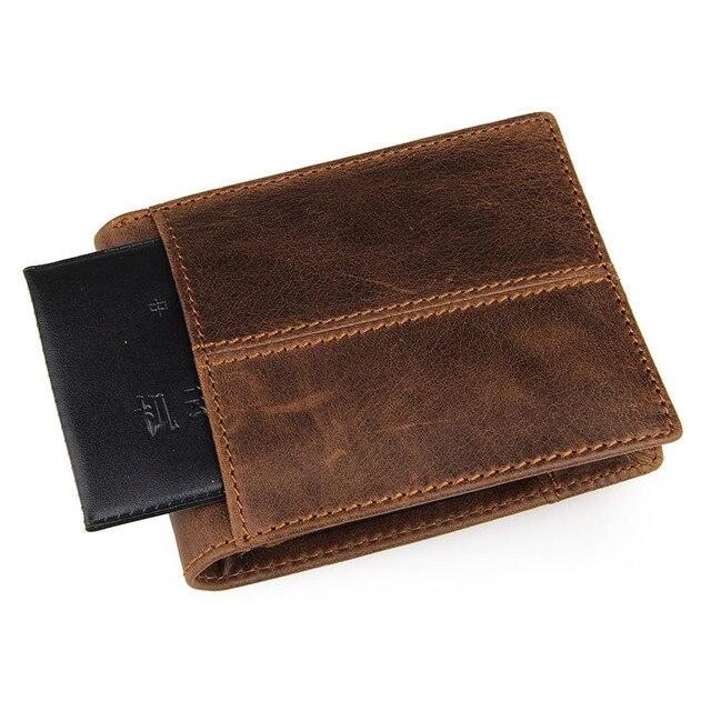GENODERN Patchwork Style Cow Leather Male Purse Short Wallet for Men Genuine Leather Wallets Brown Male Purses Men Wallets 6