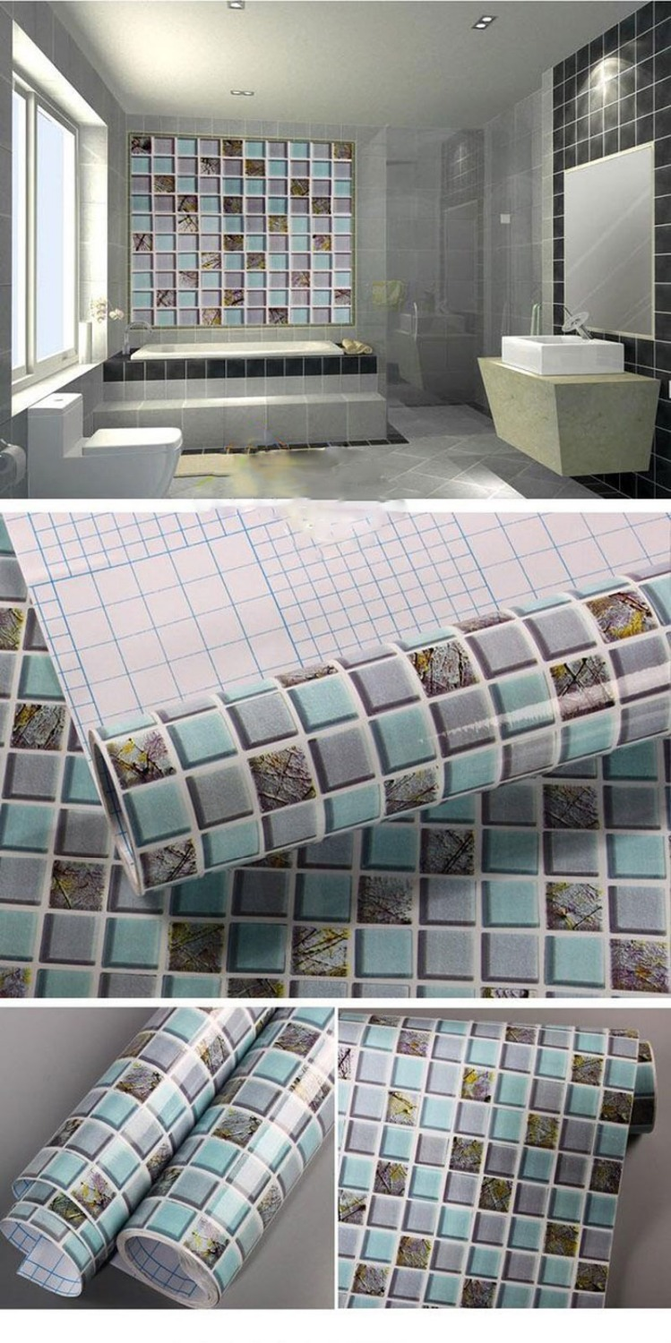 Blue diamond mosaic kitchen tiles wall sticker Oilproof waterproof selfadhesive Baseboard bathroom wallpaper home decor 60 200cm in Wall Stickers from Home Garden