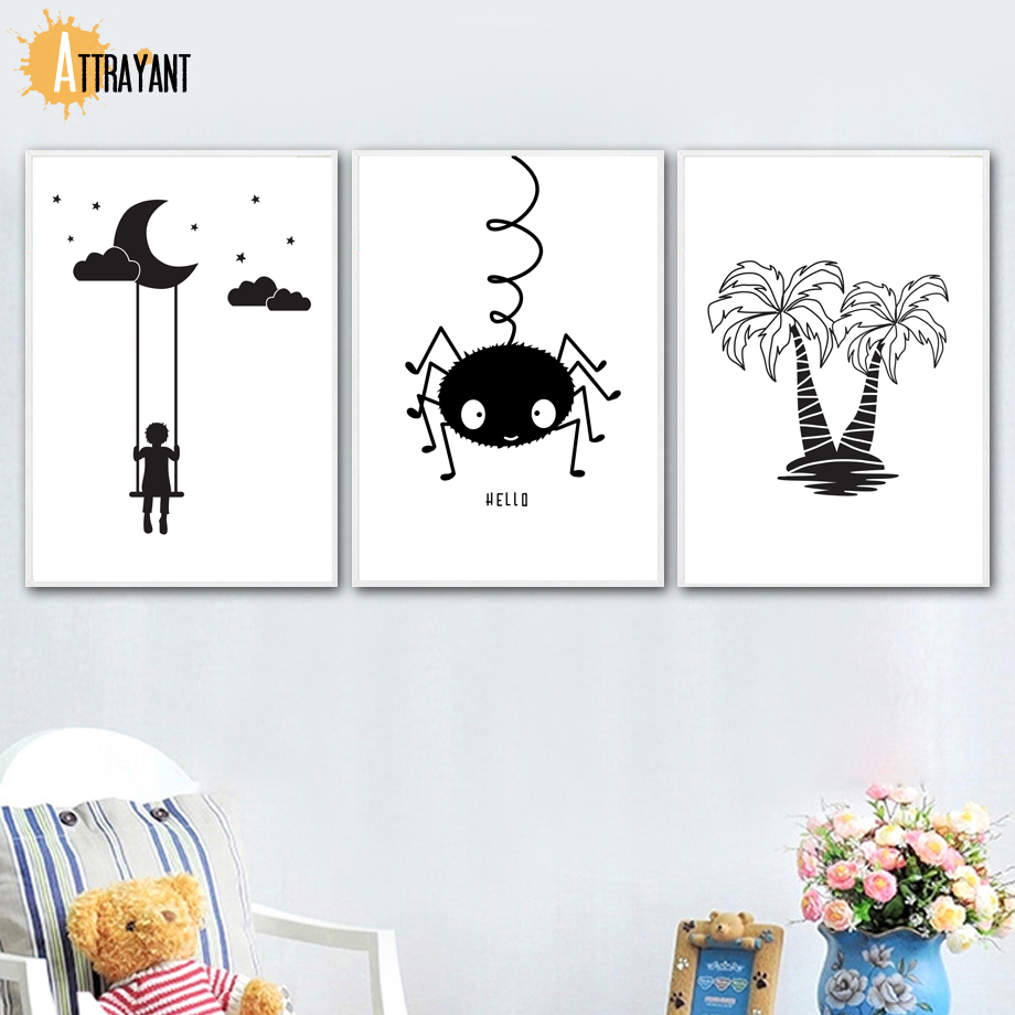 Home Decor Popular Brand Nordic Black And White Abstract Man Figure Canvas Painting Scandinavian Swing Girl Boy Wall Picture Living Room Decora Poster