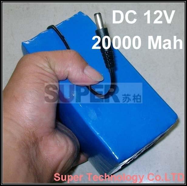Expédition libre de sme, 20000 Mah capacité, 975g poids, w/12.6 V 1A chargeur, courant de sortie 2.5A DC 12 V batterie, haute volume batterie au lithium