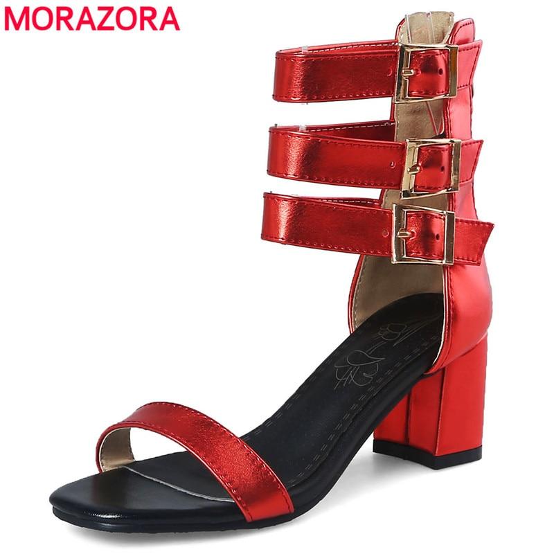2019 Mode Morazora Plus Size 33-48 Nieuwe Mode Gladiator Sandalen Vierkante Hoge Hakken Gesp Vrouwen Sandalen Zomer Dames Jurk Schoenen Vrouw 2019 Nieuwe Mode-Stijl Online