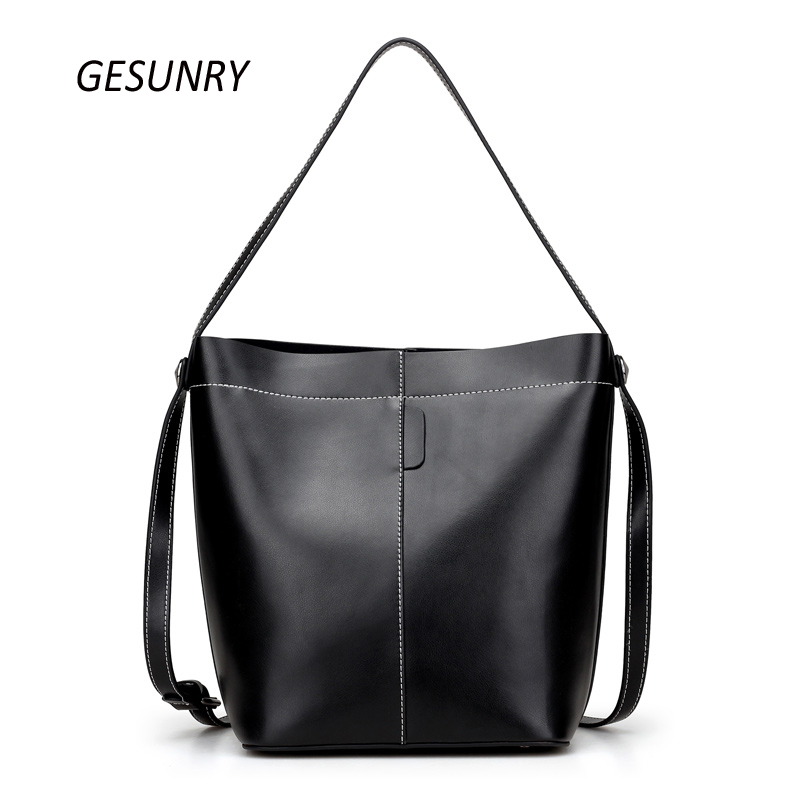 Brand Women Shoulder Bag Genuine Leather Ladies Crossbody Bags 2017 New Bucket bag Fashion Handbag For Female Bolsa 2016 women fashion brand leather bag female drawstring bucket shoulder crossbody handbag lady messenger bags clutch dollar price