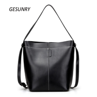 Brand Women Shoulder Bag Genuine Leather Ladies Crossbody Bags 2017 New Bucket Bag Fashion Handbag