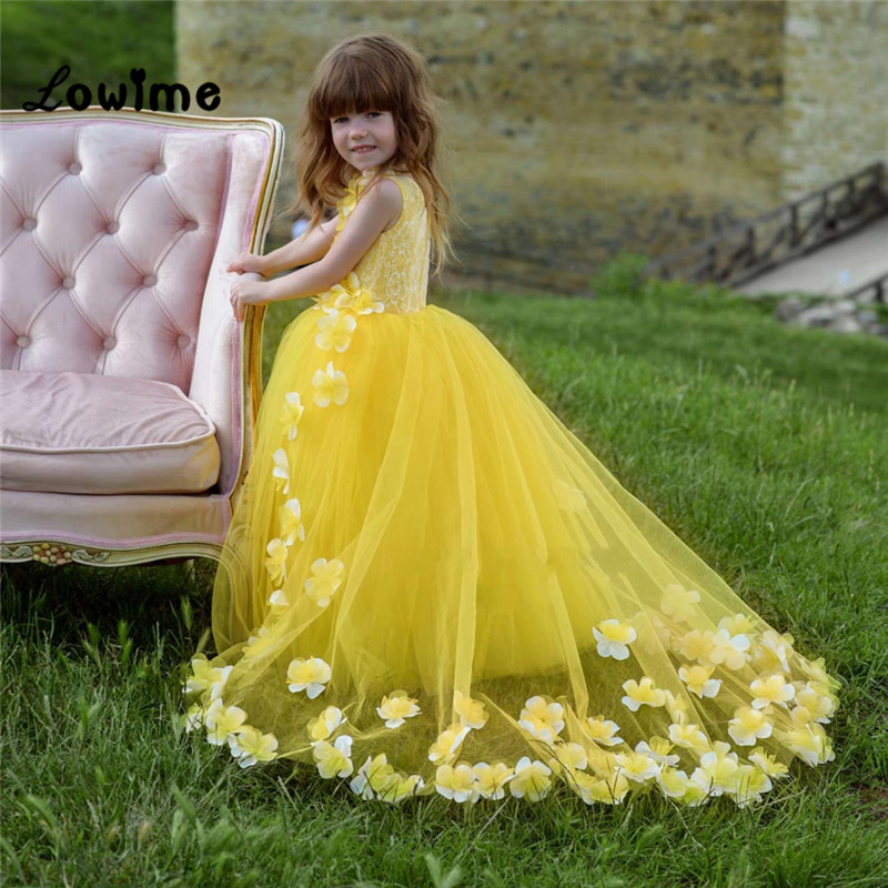 Yellow   Flower     Girl     Dress   Birthday Wedding Party Holiday Lace Communion   Dresses   Custom Made Pageant   Dresses   For   Girls   Vestido