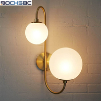 BOCHSBC Creative Art Sconce Lighting European Round Glass Ball Lampshade Wall Lamp for Bedroom Stairs Living Room Hotel Lights