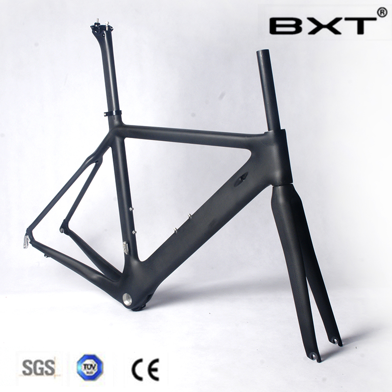 BXT In stock 2016 cheap full carbon fiber bicycle frame T800 racing bike frameset carbon bike frame with EMS free shipping bxt 2018 new full carbon track frame road frames fixed gear bike frameset with fork seat post 49 51 54cm carbon bicycle frame