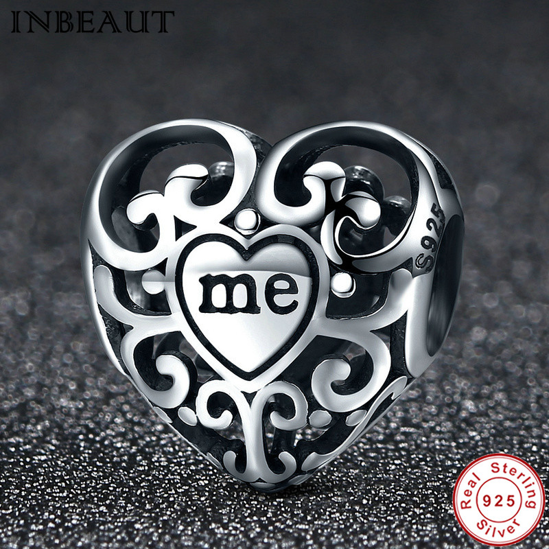 INBEAUT 100% Genuine 925 Sterling Silver Vintage Hollow You&Me Love Heart Shaped Beads fit Pandora Charm Bracelet DIY Jewelry