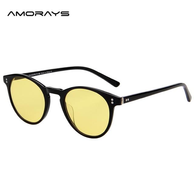 a6d7baaecf AMORAYS Anti Glare Womens Blue Light Blocking Mens Computer Glasses Round TR90  Frame Zeiss Lens Eye