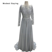 Elegant A Line Long Sleeve Evening Dresses 2015 New Arrival Formal Dresses Beading Grey Lace Prom