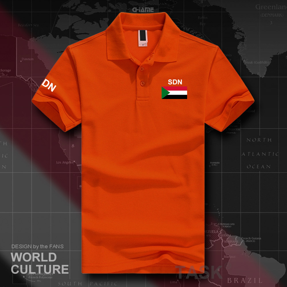 North Sudan Sudanese   polo   shirts men short sleeve white brands printed for country 2017 cotton nation team flag Africa SDN Islam