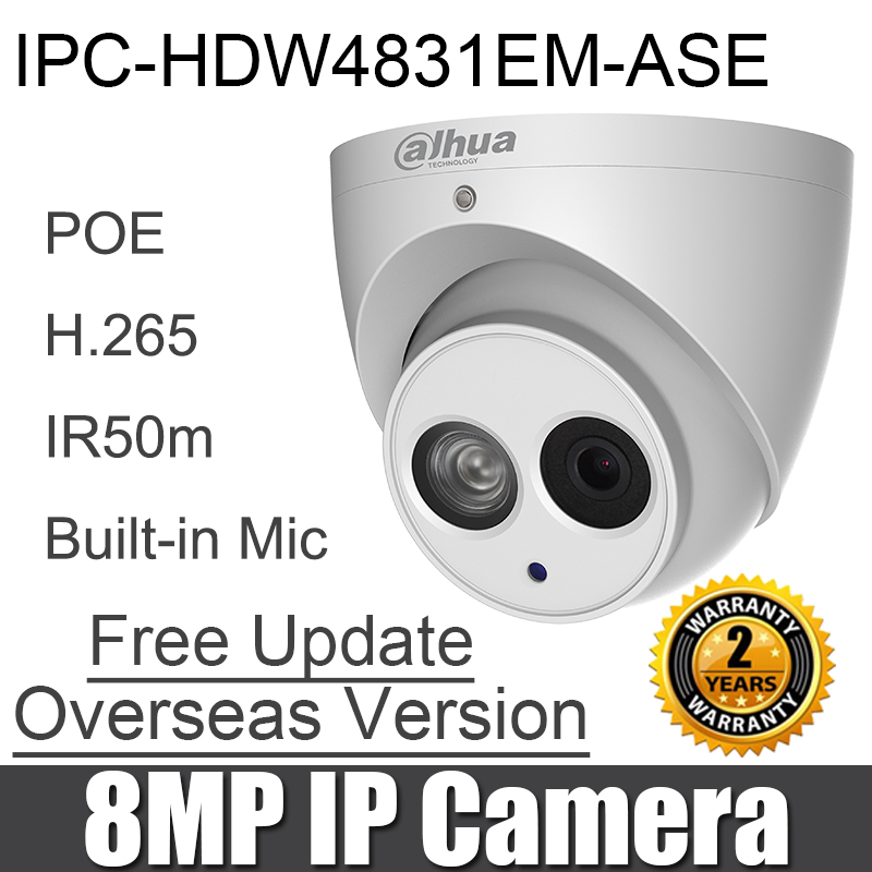 IPC HDW4831EM ASE 8MP IP camera H 265 POE Build in Mic SD card slot IP67