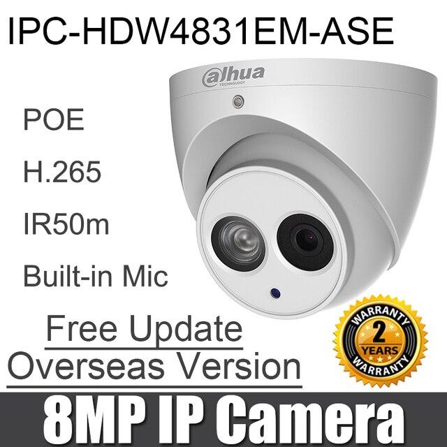 IPC HDW4831EM ASE 8MP IP kamera H.265 POE dahili Mic SD kart yuvası IP67 DH IPC HDW4831EM ASE IR Gözküresi ağ kamerası