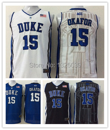 929be6d3904 ... Blue White Black Duke Blue Devils 15 Jahlil Okafor 2015 NCAA Basketball  Jersey,Rev .