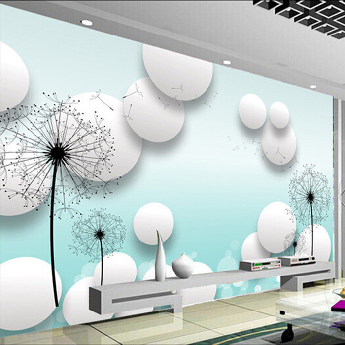 Custom 3d mural wallpaper dandelion TV room background wall romantic bike lovers Coffee House wallpaper mural black dandelion wall sticker wallpaper page 3