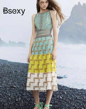 2019 Summer Women Knitting Dress Sexy Halter Neck Sleeveless Bohemian Plaid Long Sweater Dress ladies Boho vestidos mujer - DISCOUNT ITEM  20% OFF All Category
