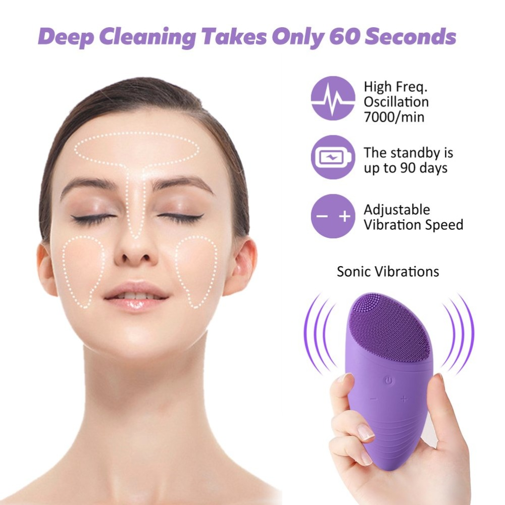 Electric Silicon Face Cleansing Brush Masager Vibrating Rechargeable Deep Cleansing Skin Care Facial Cleansing Brush Waterproof