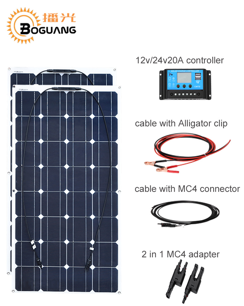 BOGUANG 200w Monocrystalline silicon Solar system 2PCS 100w solar panel cell module with 12V 20A controller cable MC4 connector boguang 500w semi flexible solar panel solar system efficient cell diy kit module 50a mppt controller adapter mc4 connector