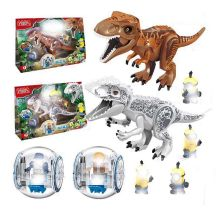 Legoing Jurassic World Dinosaurs Tyrannosaurus Rex Pterosauria Triceratops Building Blocks Toys For Children Legoings Dinosaur(China)