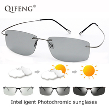 QIFENG Aviation Polarized Photochromic Sunglasses Men Driver Rimless Titanium Sun Glasses For Male Driving UV400 Oculos QF174