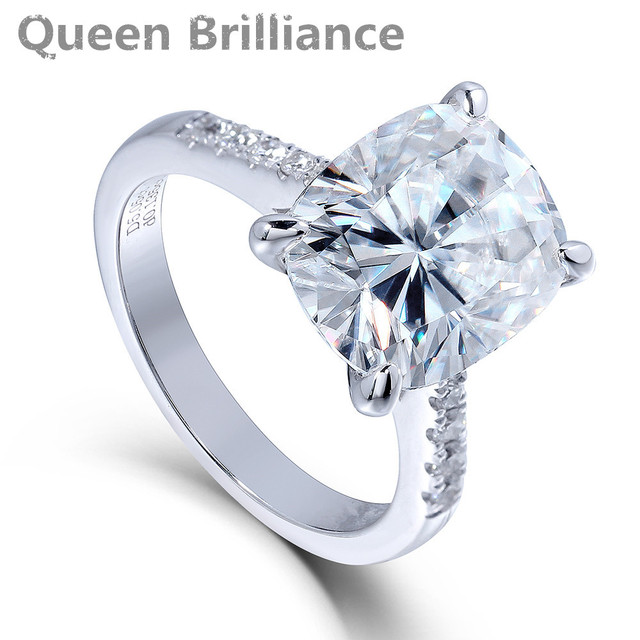 queen brilliance 5ct f color cushion cut lab grown moissanite engagement ring wedding ring genuine 14k - Moissanite Wedding Rings