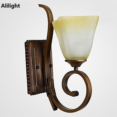 Elegant Vintage Retro LED Wandleuchten Eisen Harz Glas Malerei Wandlampen  Wandleuchten Leuchten Für Wohnkultur Innen Veranda Flur