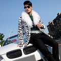 2016 Fashion Men's Leopard  Faux Fur Coat Personality medium-long Fur Shawl Collar Overcoat Male singer stage performance wear