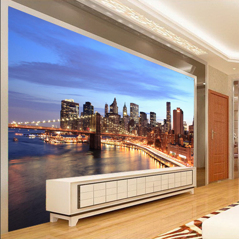 Free Shipping 3D New York Night Hotel Bar Restaurant Background Wall Living Room Bedroom Coffee House