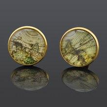 Мода рубашка свадьба запонки для серебро золото ретро карта мира манжеты кнопки ювелирные изделия GM427(China (Mainland))