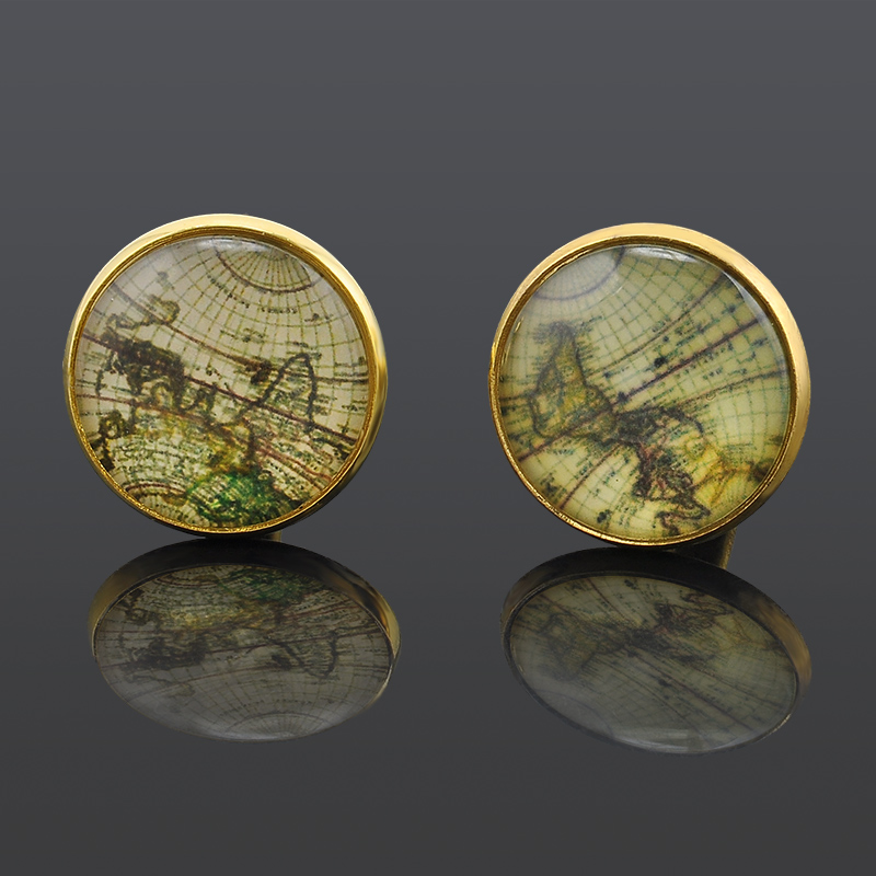 Boutiques House Fashion Shirt Wedding Cuff Links For Mens Silver Gold Retro World Map Cuff Buttons Jewelry GM427