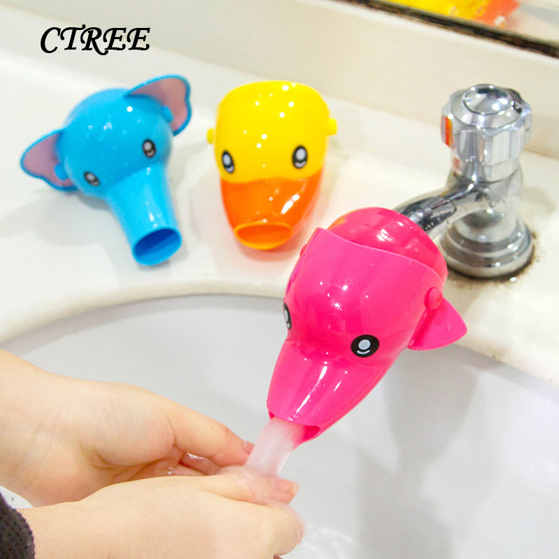 CTREE 1 Pcs Convenient Faucet Extender Cute Happy Animals Faucet Extender Baby Tubs Kids Hand Washing Bathroom Sink Gift C918