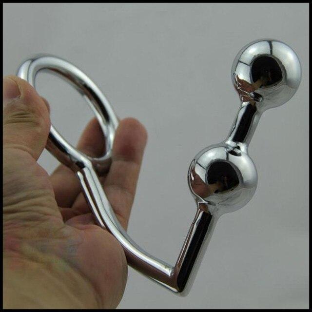 4 cm anillo del pene gancho anal consolador productos del sexo 2 bolas Male Chastity Cock Lock + Plugs Metal juguetes sexuales