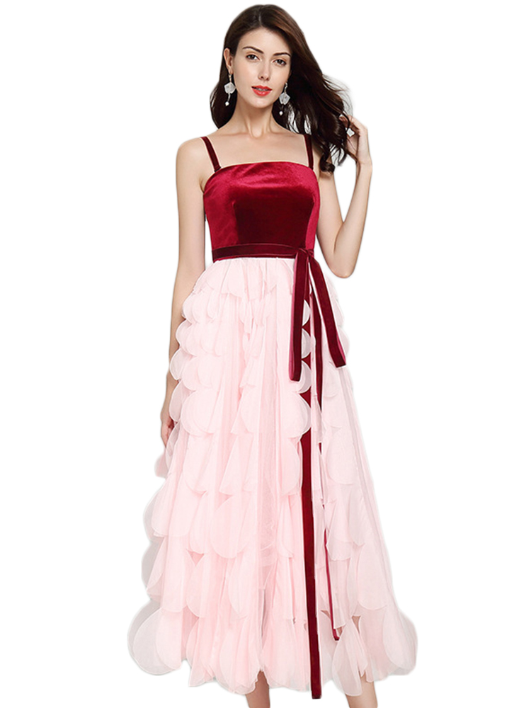 Party Dress Female Velvet Stitching Pink Fairy Dress Tube Top Sexy Word Shoulder Banquet Dresses Woman Party Night Sleeveless in Dresses from Women 39 s Clothing