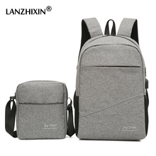 Men Casual Travel Backpacks Large Capacity USB Backpacks School Bags for Teenagers Multi-functional Anti-theft Laptop Backpacks cheap LANZHIXIN Nylon Letter Ruched Unisex Solid Softback zipper Polyester Below 20 Litre Air Cushion Belt SD-705 Solid Bag Soft Handle