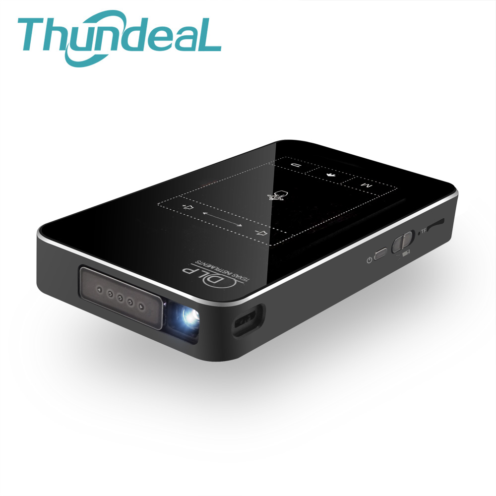 ThundeaL T18 DLP Mini Projector Android 7.1 WiFi 8G 32G ROM 3D Support 4K Projector Touch Pad Battery 5000mAh Bluetooth HDMI In 7100 lumens high brightness 4k projector android 4 4 3d projector full hd wifi 13600 ma battery led projector dlp projector hdmi