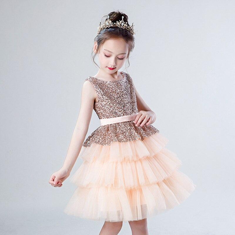 Paillettes perles fleur fille robes pour mariage Tulle couches enfants robes d'anniversaire robe de bal filles robe formelle B440