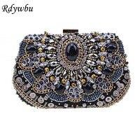 Rdywbu Luxury Beaded Evening Bag Women's Sequins Diamonds Clutches Rhinestone Wedding Party Purse Handbag Embroidery Bolsa B336