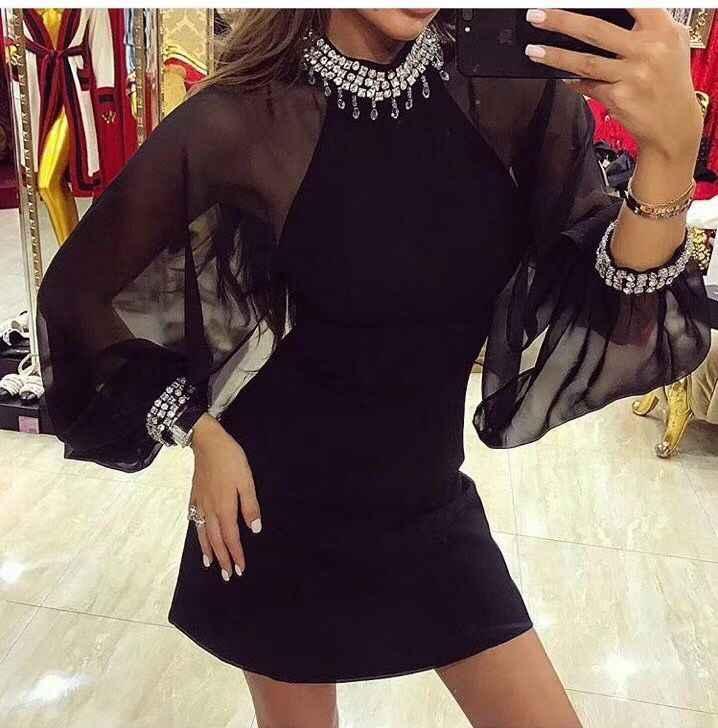 איכות גבוהה שחורה ארוך שרוול רשת Mantual ואגלי ריון תחבושת שמלת ערב שמלת המפלגה למתוח
